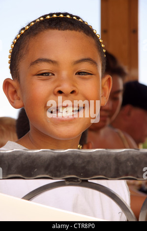child kid smiling african american portrait headshot guy junior lad schoolboy youngster youth adolescent - Stock Photo