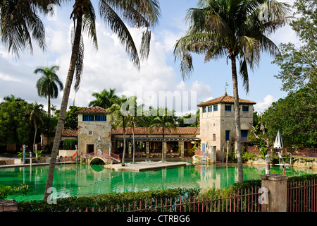 Venetian Pool in a Coral rock quarry in the prestigious former Coral Gables, Miami, Florida, USA - Stock Photo