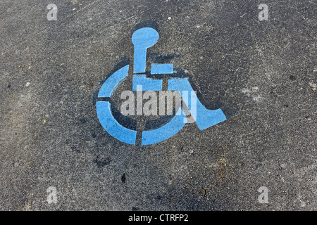 Parking space marked for disabled persons, Key Largo, Florida Keys, Florida, USA - Stock Photo