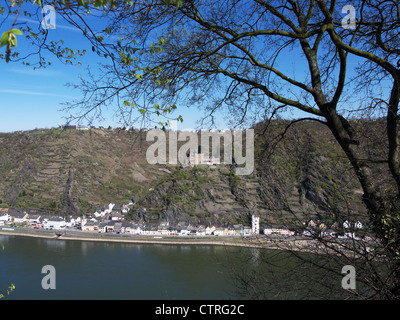 View from St.Goar at the Rhine river to St.Goarshausen with Castle Katz - Stock Photo