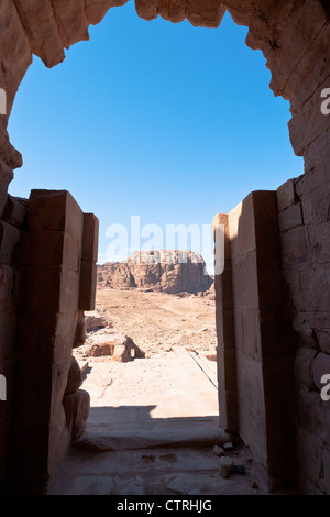 view from Urn Tomb to mountain dessert in Petra, Jordan - Stock Photo