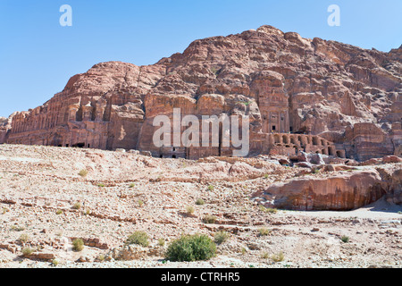 panorama of Royal Tombs in Petra, Jordan - Stock Photo