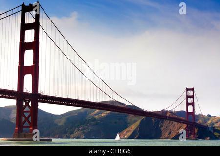 A Sailing under the Golden Gate Bridge, San Francisco - Stock Photo