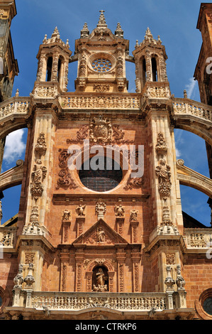 Spain, St. James Way: Baroque  facade of the Cathedral of Astorga - Stock Photo