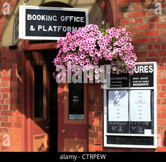 The entrance to the booking office at Bewdley's Severn Valley Railway Station, Bewdley, Worcestershire, England, - Stock Photo