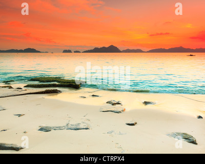 Beautiful seascape. Stone on the foreground. Philippines - Stock Photo