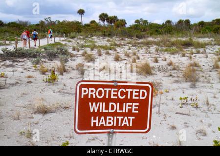 Sanibel Island Florida Sanibel Bowman's Beach Gulf of Mexico sign protected wildlife habitat - Stock Photo