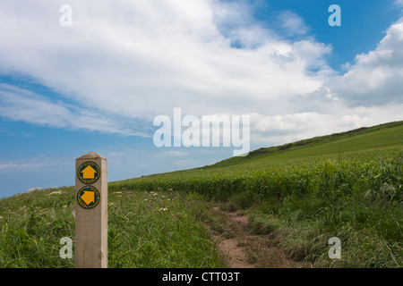 The North York Moors National Park sign with on the way to Port Mulgrave from Staithes. - Stock Photo