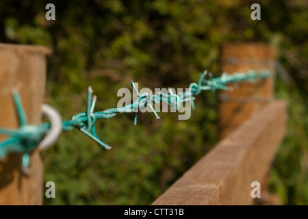 Barbed wire running across the top of a wooden fence. - Stock Photo