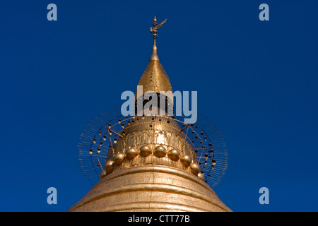 Myanmar, Burma. Top of Shwezegon (Shwezigon) Pagoda, near Bagan. - Stock Photo