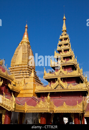 Myanmar, Burma, Shwezegon (Shwezigon) Pagoda, near Bagan. - Stock Photo