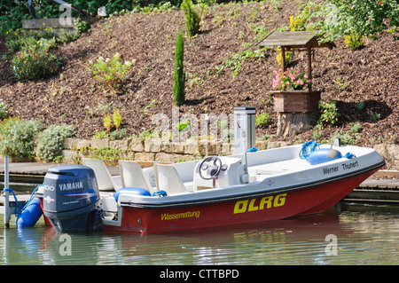 Rescue boat of the DLRG Deutsche Lebens-Rettungs-Gesellschaft e.V. German Lifeguard Association life saving organization - Stock Photo
