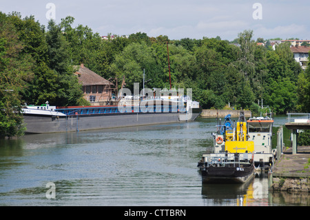 River Barge and other ships mooring in Heilbronn River Neckar Germany Inland Port - Stock Photo