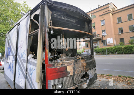 Milan, food truck destroyed by arson  because the owner had refused to pay 'protection money' to a Mafia family - Stock Photo