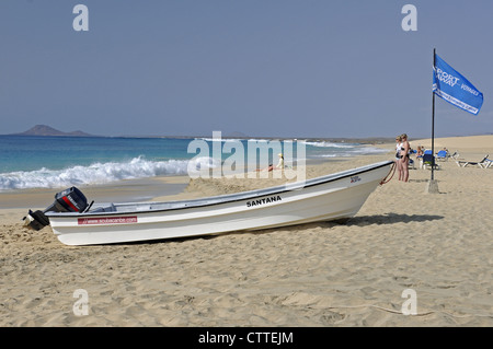 Beach in front of hotel Rui Funana Santa Maria Island of Sal Cape Verde Islands - Stock Photo