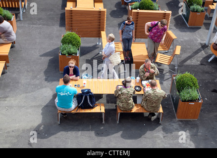 London 2012 Olympic Games - army personnel enjoy meal break in McDonald's