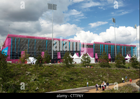 London 2012 Olympic Games - rear view of Riverbank Arena grandstand - Stock Photo