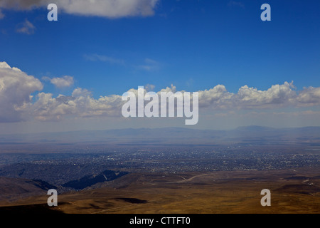 View from Mt. Chacaltaya La Paz in distance, Calahuyo, Bolivia, Andes, South America, - Stock Photo