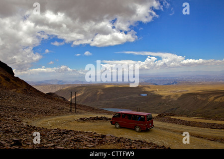 View from Mt. Chacaltaya altiplano in distance, Calahuyo near La Paz, Bolivia, Andes, South America, - Stock Photo