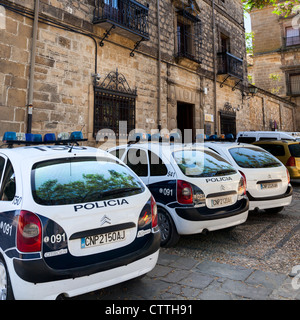 Police cars outside the Police Station in Úbeda, Jaén, Andalusia, Spain. Europe. - Stock Photo
