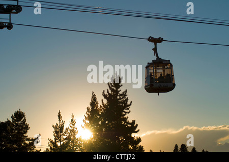 Gondola car with people in summer, Vail Mountain, Vail Colorado - Stock Photo