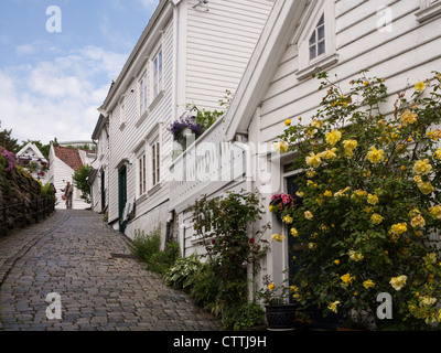 Gamle Stavanger restored 18c. wooden merchant's house - Stock Photo