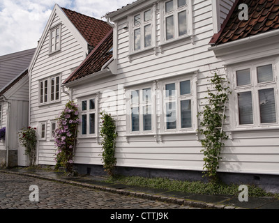 Gamle Stavanger 18c. wooden houses Norway - Stock Photo