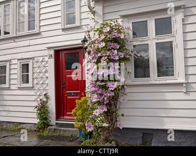 Gamle Stavanger Restored 18c. wooden houses - Stock Photo
