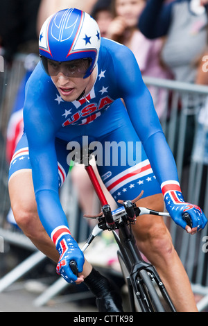 Taylor Phinney on his London 2012 Olympic men's individual time trial run, - Stock Photo
