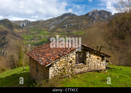 View from the slopes of Picu'l Vasu on the western edge of the Picos Europa National Park near Amieva, Asturias, - Stock Photo