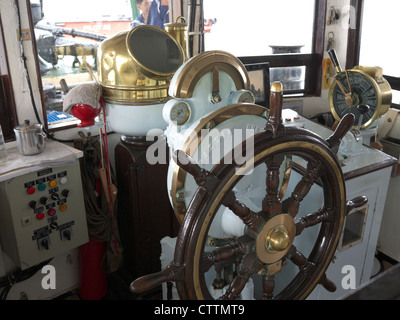 View of the wheel house interior of a Hong Kong Star Ferry - Stock Photo