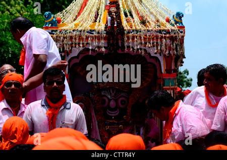 Rath yatra procession in Ahmedabad, Gujarat,India - Stock Photo