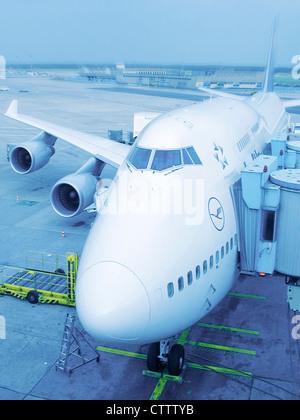 Boeing 747 Jumbo Jet in Frankfurt am Main FRA - Stock Photo