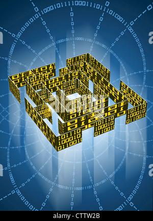 Labyrinth mit Datenkolonnen aus Binärcode