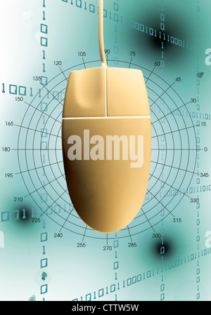 Computermaus vor einem Hintergrund aus digitalen Zahlenreihen  - Stock Photo