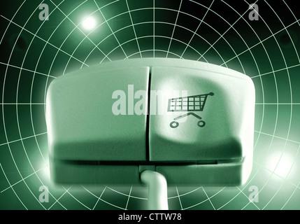 Computermaus mit Einkaufswagen auf der linken Maustaste - Stock Photo