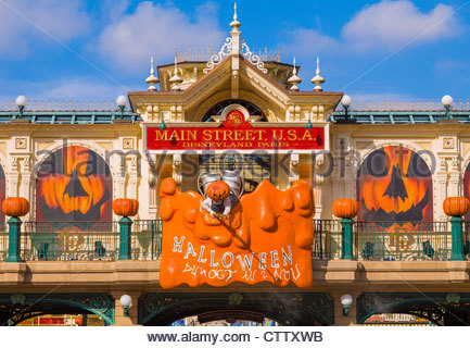 entrance to the disneyland resort paris theme park decorated for halloween france stock photo