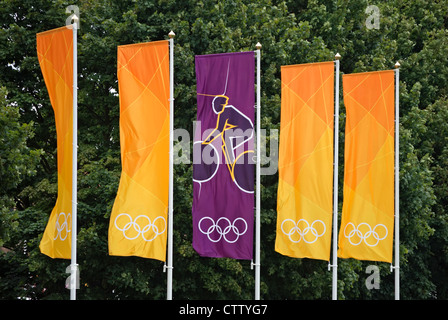 flags marking the london 2012 olympic cycling time trials at hampton court, middlesex, england - Stock Photo