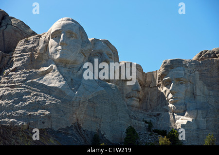 Detailed view Mt. Rushmore with sculptures of former presidents George Washington, Thomas Jefferson, Theodore Roosevelt, - Stock Photo