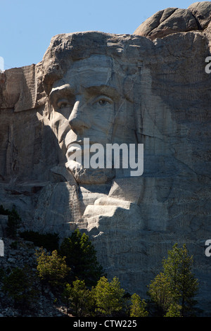 Detailed view of the sculpture of Abraham Lincoln on Mt. Rushmore, Mount Rushmore National Monument, South Dakota, - Stock Photo