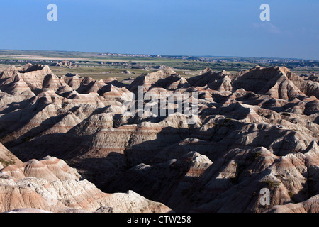 Aerial view of badland rock formations, Badlands National Park, South Dakota, United States of America - Stock Photo