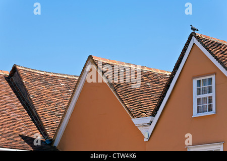 Tiled Roofs and Gable Ends with Apex - Stock Photo