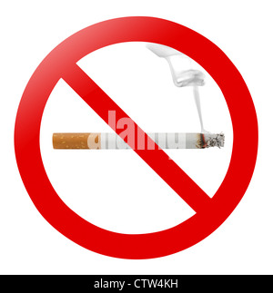 Traditional 'no smoking' sign isolated on white - Stock Photo