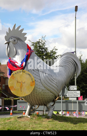 Dorking Cockerel decorated for the London 2012 Olympics, 29th July 2012 - Stock Photo