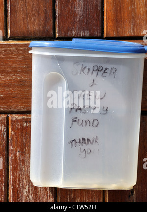 Novel method for collecting tips on board the St Mawes to Falmouth ferry.  Reads 'skipper and crew pasty fund, thank - Stock Photo