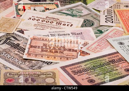 Old German notes (Emergency money or notgeld) - Stock Photo
