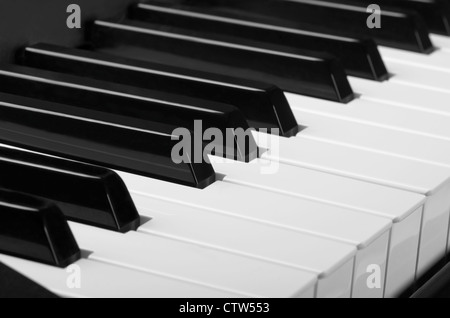 White and black keys. Close up of piano keyboard - Stock Photo