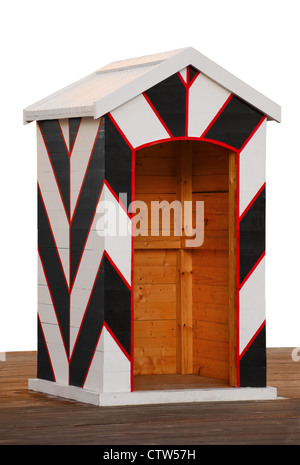 Old traditional wooden black and white sentry-box - Stock Photo