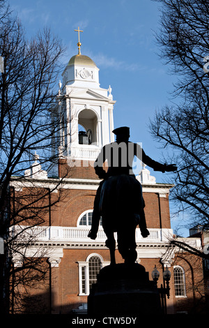 Paul Revere Monument found in Bostons North End on the freedom trail. - Stock Photo