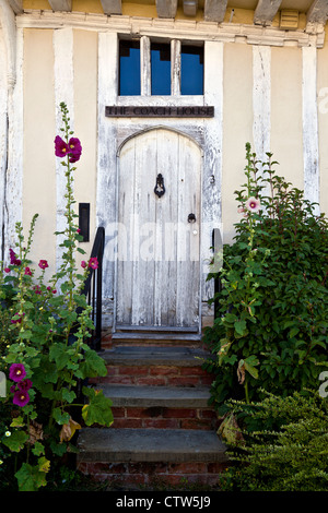 Steps Leading up to Old Style Front Door of House in Lavenham - Stock Photo